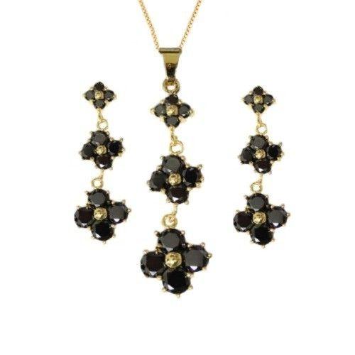 Gargantilha e Brincos com Tres Flores Negras de Zircônia Folheado a Ouro 18k