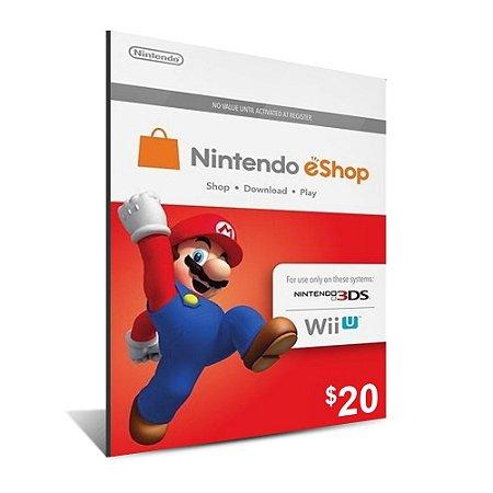Cartão Nintendo e-Shop 20 Dólares