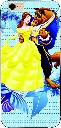 Capinha para celular - Princesa Bela e a Fera azul