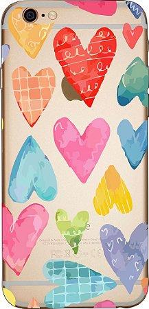 Capinha para celular - Corações Coloridos