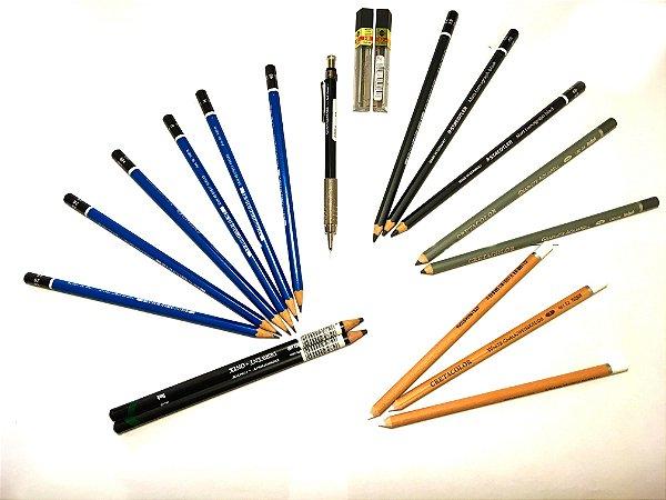 Kit de lápis e lapiseiras para Desenhos Artísticos e Realista