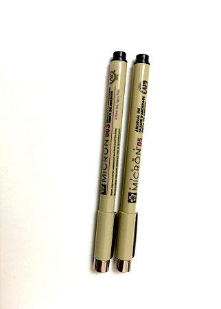 Conjunto Canetas de Nanquim Micron 003 e 05 para Desenho