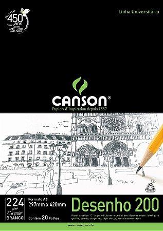 Bloco Canson 224g para Desenho tamanho A4