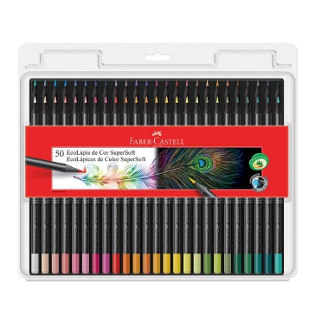 EcoLápis de cor Supersoft 50 cores Faber Castell