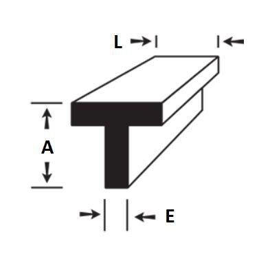 "Perfil ""T"" aluminio com abas iguais  1"" x 1/16"" (2,54cm x 1,58mm)"