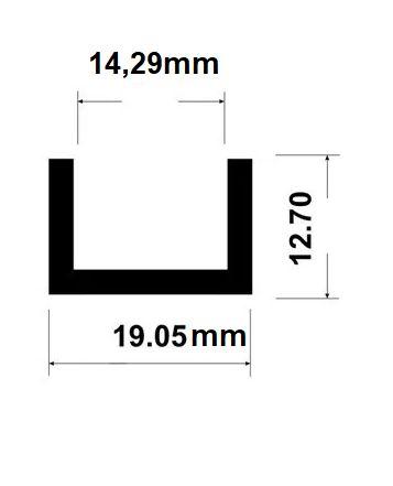 Perfil U de aluminio com abas desiguais 1,27cm x 1,9cm x 1,27cm x 2,38mm