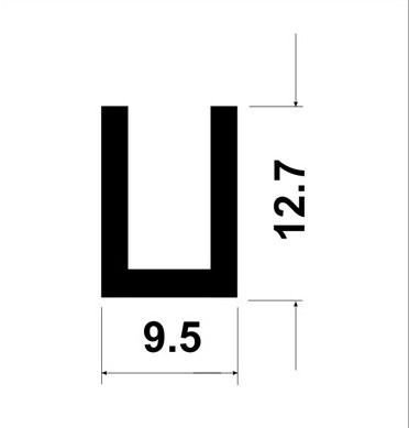 Perfil U de aluminio com abas desiguais 1/2 x 3/8 x 1/2 x 1,58mm
