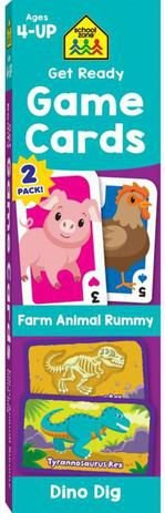 GET READY GAME CARDS FARM ANIMAL RUMMY & DINO DIG 2-PACK