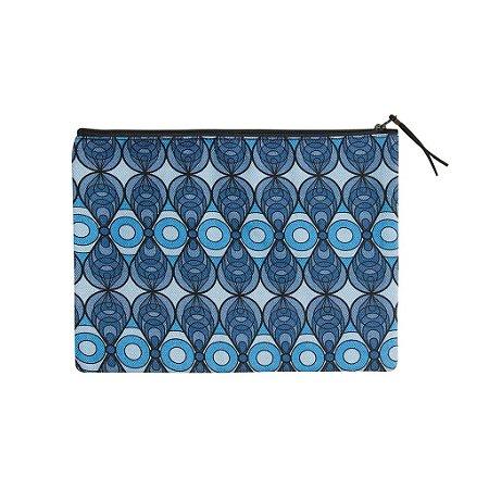 Estojo / Necessaire Grande Azulejo Azul - com forro