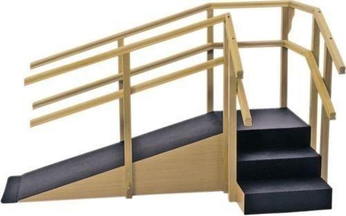 Escada de Canto em L com 3 degraus e Rampa