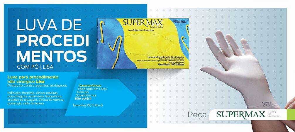 Luva para procedimento Não Cirúrgico com pó - LÁTEX Supermax Premium Quality Lisa