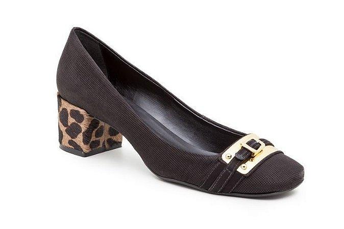 Scarpin Salto Bloco Kitten Lame Leopard