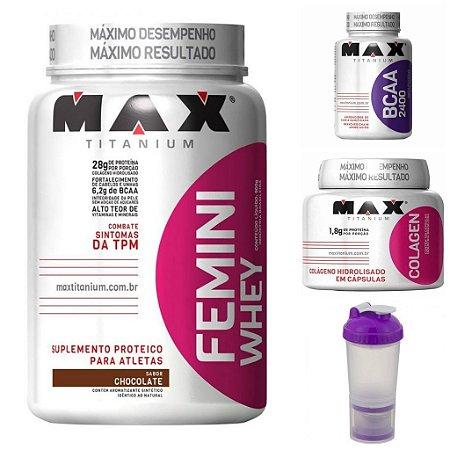 Kit Feminino Max Titanium - Ganho muscular + Coqueteleira 3 compartimentos Brinde