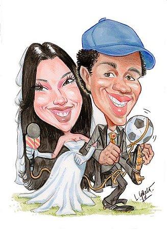 Caricatura de noivos/casal/dupla - Tintas / lápis de cor