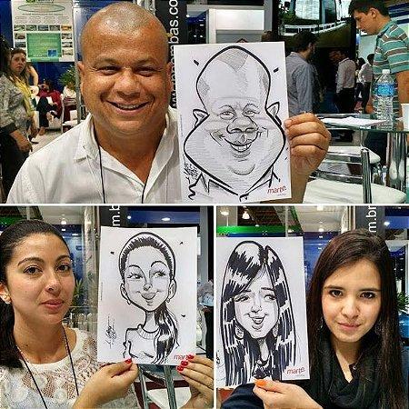 Caricaturas ao vivo em papel e caneta -serviço por 4 horas