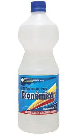 Álcool Etílico Hidratado 70º INPM, 1L, Econômico