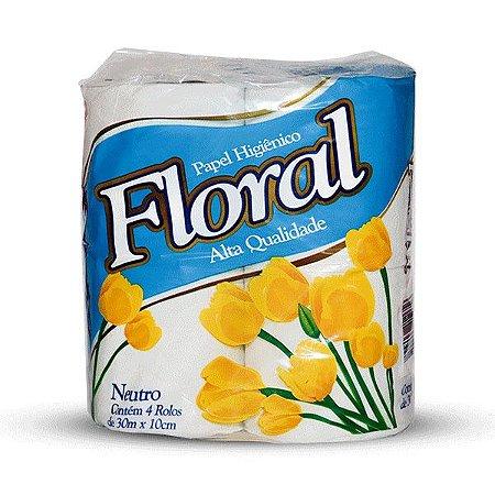 Papel Higiênico Floral Neutro, Folha Simples, Pacote c/4un