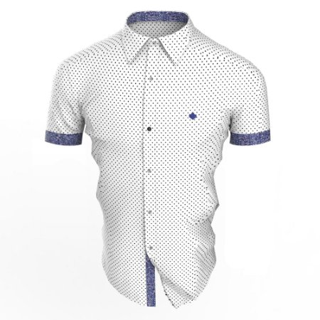 Camisa Branca Poá Azuma Manga Curta