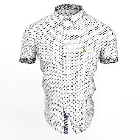 Camisa Branca Poá Lilto Manga Curta