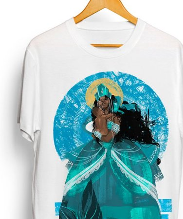 Camiseta de algodão - Yemanjá sereia, rainha e mãe