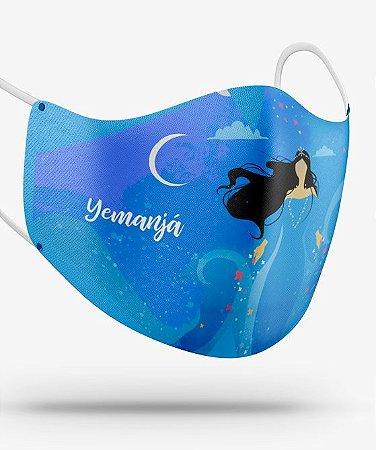 Máscara de proteção em pano -  Yemanjá minimalista