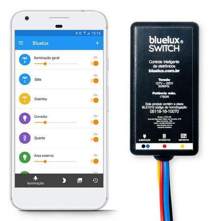 Bluelux Switch - Liga Desliga iluminação, aparelhos eletrônicos, ar condicionado tv freezer, pelo celular