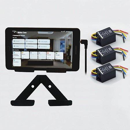 Starter Kit Iluminação - 03 Bluelux PRO + Central Bluelux + Suporte para fixação