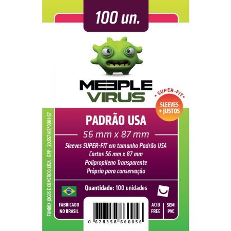 Sleeves Meeple Virus: Padrão USA (56 X 87 mm) – Pacote C/100