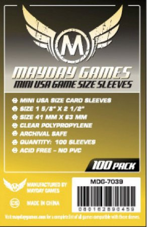 Sleeves Mayday Games: Mini USA (41 x 63 mm) – Pacote C/100