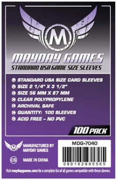 Sleeves Mayday Games: Padrão USA (56 x 87 mm) – Pacote C/100