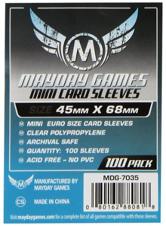 Sleeves Mayday Games: Mini Euro (45 x 68 mm) – Pacote C/100