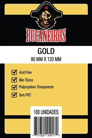Sleeves Bucaneiros: GOLD (80 x 120mm) - Pacote c/ 100