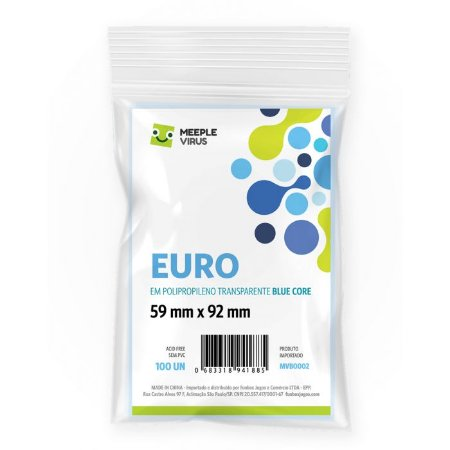Sleeves Blue Core: Euro (59 X 92 mm) – Pacote C/100
