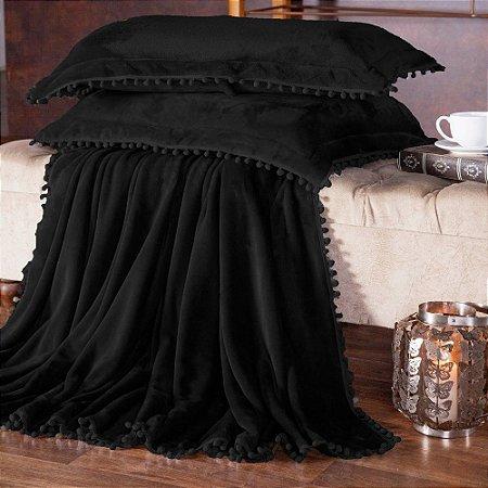 Manta Fleece Plush Pesado Com Pompom Queen 3 Peças Preto