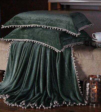 Manta Fleece Plush Pesado Com Pompom Queen 3 Peças Verde