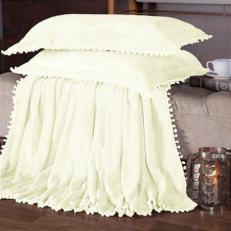 Manta Fleece Plush Pesado Com Pompom Queen 3 Peças Palha