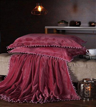 Manta Fleece Plush Pesado Com Pompom Queen 3 Peças Rosê