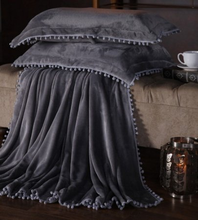 Manta Fleece Plush Pesado Com Pompom Queen 3 Peças Chumbo