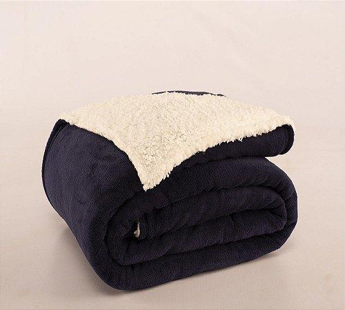 Cobertor Canada Solteiro Sherpa e Mantinha Azul Marinho