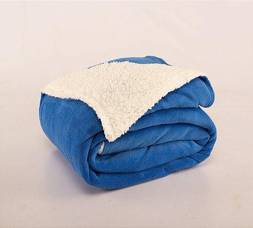 Cobertor Canada Solteiro Sherpa e Mantinha Azul Royal