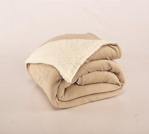 Cobertor Canada Solteiro Sherpa e Mantinha Cáqui