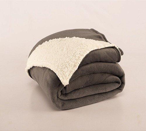 Cobertor Canada Solteiro Sherpa e Mantinha Cinza