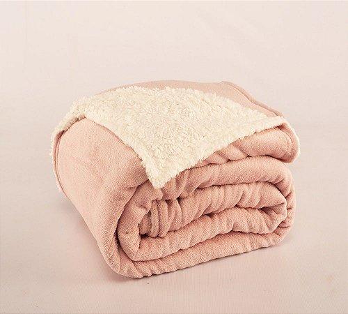 Cobertor Canada Solteiro Sherpa e Mantinha Rosê