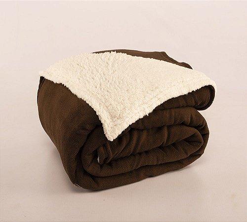 Cobertor Canada Solteiro Sherpa e Mantinha Tabaco