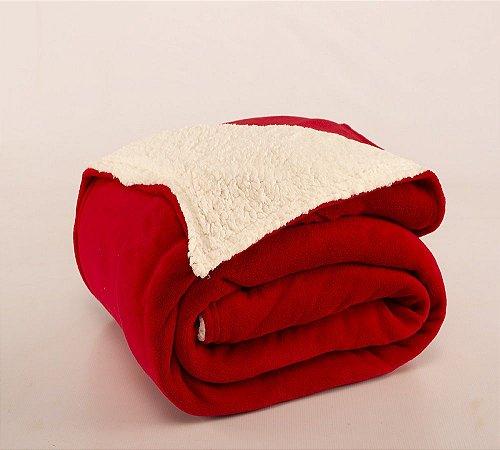 Cobertor Canada Solteiro Sherpa e Mantinha Vermelho