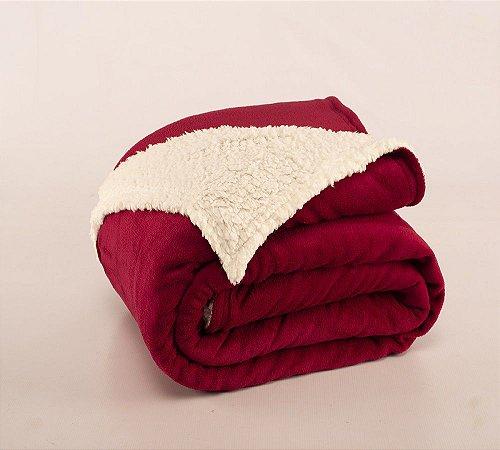 Cobertor Canada King Sherpa e Mantinha Vinho