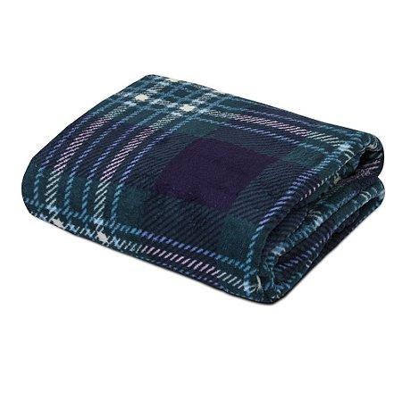 Mantinha Soft Fleece Premium 2,00 x 1,80m - Xadrez Azul