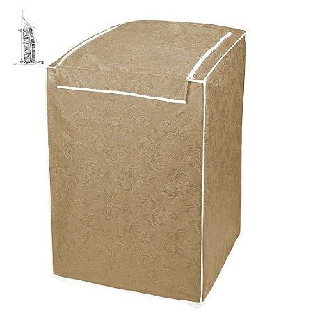 Capa para Máquina de Lavar Roupas Impermeável 10kg/12kg Bege
