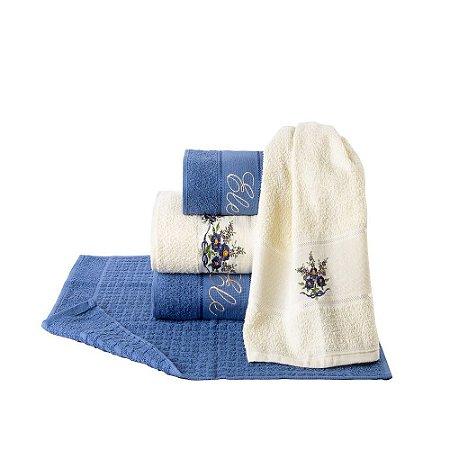 Jogo Toalha de Banho Elegance Bordado Ele Ela 5 pçs Azul