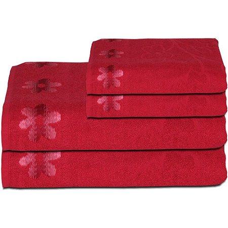 Jogo de Toalha de Banho Nobless Flor de Limas 4 pçs Vermelho